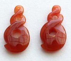 Orange Onyx Carvings 2 Pc Matched Pair Orange by gemsforjewels