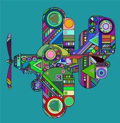 Psychedelic Plane by Vaiktorizer.deviantart.com on @DeviantArt