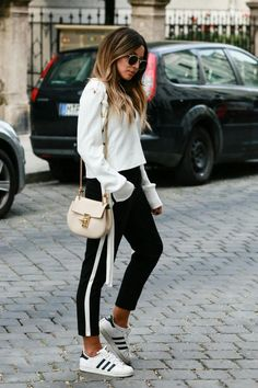 Black and white casual track pant trend #trackpants #athleisure