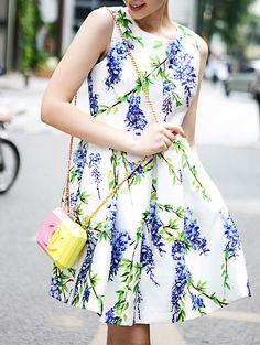 ¡Cómpralo ya!. White Round Neck Sleeveless Floral Print Dress. White Round Neck Sleeveless Polyester A Line Short Floral Fabric has no stretch Summer Casual Day Dresses. , vestidoinformal, casual, informales, informal, day, kleidcasual, vestidoinformal, robeinformelle, vestitoinformale, día. Vestido informal  de mujer color blanco de SheIn.