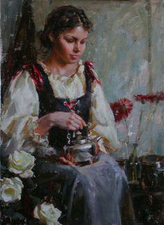 Silver tea pot by Mike Malm Malm, Salt Lake City, Fashion Painting, New Artists, Figure Painting, Figurative Art, Painting Inspiration, Lovers Art, Female Art