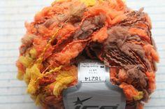1sk ICE yellow,brown, orange pom pom yarn 79 yards | eBay