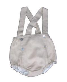 Cubrepañal con tirantes de lino de Melamelón - http://elarmariodecloe.com/nueva-temporada/marcas-moda-infantil/melamelon-moda-infantil/cubrepa-al-con-tirantes-de-lino-de-melamelon.html #modainfantil