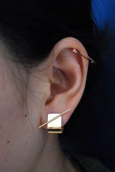 Kathleen Whitaker 14k Stick Stud and Ear Cuff