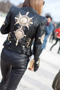 leather <3 Indie Fashion, Girl Fashion, Womens Fashion, Fashion Design, Paris Fashion, Blazer Fashion, Leather Fashion, Shabby Chic Jackets, Embroidered Leather Jacket