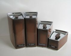 Vintage Mid Century Brown Metal Canisters - Set of Four