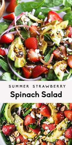 Gorgeous summer strawberry spinach salad topped with avocado, feta, red onion, toasted almonds, pistachios and drizzled with a flavorful strawberry balsamic vinaigrette. The best strawberry salad recipe! Best Salad Recipes, Diet Recipes, Healthy Recipes, Kitchen Recipes, Balsamic Salad Recipes, Summer Vegetarian Recipes, Lettuce Salad Recipes, Pomegranate Recipes, Vegetarian Recipes Videos
