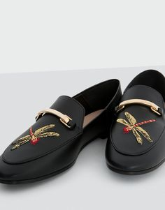 Golden buckle loafers - See all - Shoes - Woman - PULL&BEAR Israel