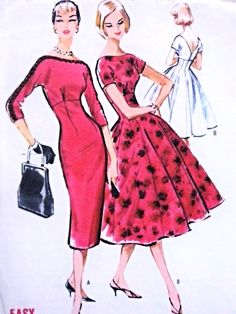 1950s Beautiful Slim or Full Skirt Dress Pattern McCalls 4597 Bateau Neckline Empire Style Sheath or Fit and Flare Daytime or Cocktail Party Dress Bust 36 Vintage Sewing Pattern Easy To Sew