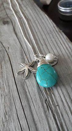 Stamped Turquoise Starfish Washer Necklace Custom by amandamackay