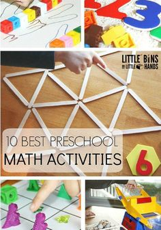 10 best preschool math activities for early learning. Includes activities for shapes, one to one counting, sensory play, measuring, weighing, and fun games.