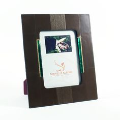 Grey Leather Photo Frame with Crystal