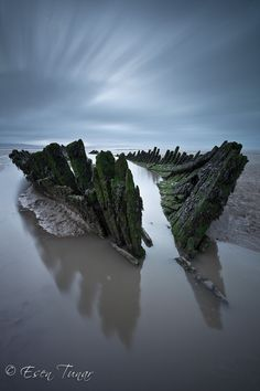Berrow Beach Shipwreck, Berrow, Somerset, England by Esen Tunar