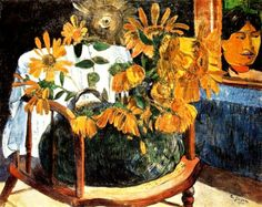 Paul Gauguin - Sunflowers on an Armchair, 1901. Oil on canvas. The State Hermitage Museum, St Petersburg, Russia