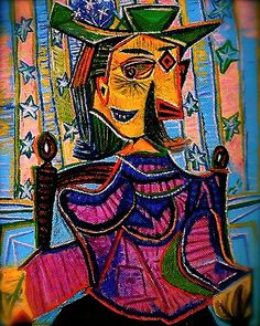 Seated Portrait Of Dora Maar Artwork By Pablo Picasso Oil Painting & Art Prints On Canvas For Sale Kunst Picasso, Art Picasso, Picasso Paintings, Oil Paintings, Landscape Paintings, Portraits Cubistes, Cubist Portraits, Photos Panoramiques, Dora Maar