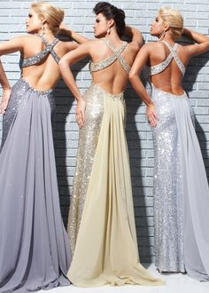 Sequined Open Back Prom Dresses in Pewter, Gold, and Silver - Tony Bowls Le Gala 113514 - RissyRoos.com