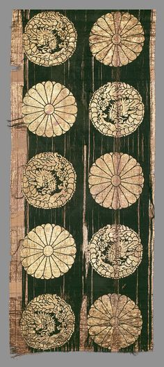 Silk and gold-leafed paper brocaded panel, Japan.