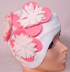 Vintage 1960s Kleinerts Sava Wave White Rubber Pink Flower Bathing Swim Cap