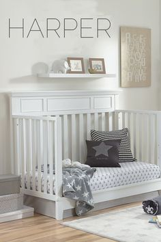 Hand-crafted and easy to assemble -- meet the Harper Crib. Not only is it stylish, it converts to a toddler bed, daybed, and full-size bed with separate accessories. The classic white finish fits with any nursery theme Penguin Nursery, Lamb Nursery, Ocean Nursery, Bunny Nursery, Nursery Room, Kids Bedroom, Nursery Themes, Nursery Ideas, Nursery Decor