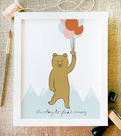 float away art print 8 x 10 bear balloons and by littlelow on Etsy. $15.00 USD, via Etsy.