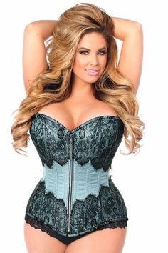 bbd142223df Plus Size Blue Brocade Steel Boned Strapless Corset Top Drawer