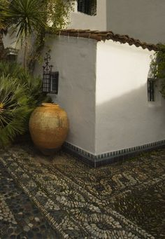 Lovely old pot on a beautiful hacienda courtyard ~ ♥