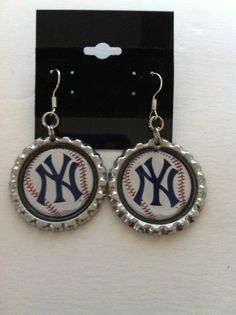 New York Yankees inspired Earrings Made with Flattened Bottle Caps Free Shipping #Handmade #DropDangle