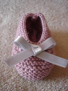 Chaussons bébé ballerines laine vieux rose et noeud satin