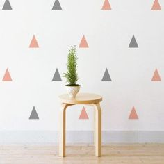 Pastel Grey & Pink Triangle Wall Stickers