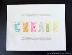 DIY Embroidered Canvas at artsyfartsymama.com #AmyTangerine #embroidery #create