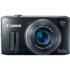 Canon PowerShot SX260 HS 12.1 MP CMOS Digital Camera with 20x Image Stabilized Zoom 25mm Wide-Angle Lens and 1080p Full-HD Video (Black): Camera