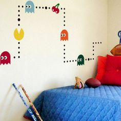 Cute Pac-Man Game Nature Vinyl Wall Paper Decal Art Sticker Q193. $15.88, via Etsy. - on his bed