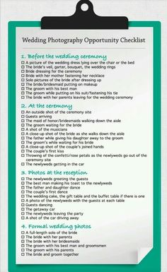 Simple wedding photography check-list without to much scrolling. :)