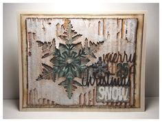 i girl zoe with a layered snowflake christmas card using tim holtz ranger sizzix and stampers anonymous products