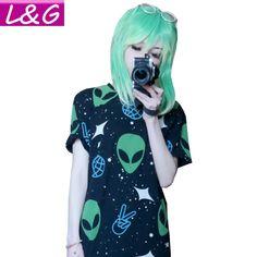 Mode Harajuku Punk Alien et Imprimer Noir T Shirt Femmes Tops Casual Manches Courtes T Shirt Automne Dames Chemise 21145 dans T-Shirts de Femmes de Vêtements et Accessoires sur AliExpress.com | Alibaba Group