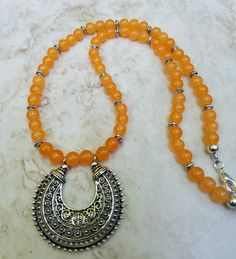 Yellow Orange Tribal Necklace by DebWiseCreations on Etsy