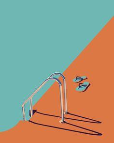 The work of Australian illustrator Bron Payne Beach Illustration, Digital Illustration, Graphic Illustration, Illustration Fashion, Inspiration Artistique, Complimentary Colors, Arte Pop, Graphic Design Posters, Retro Art