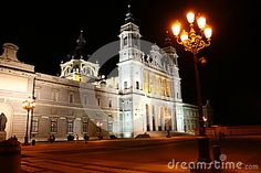 Almudena Cathedral in Madrid by night