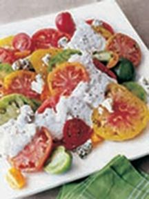 Barefoot Contessa - Recipes - Heirloom Tomatoes with Blue Cheese Dressing