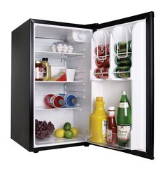The cu. Mini All Refrigerator in Black from Haier has an extra-large door bin with enough room to stash a jug and a soda bottle side by side. Refrigerator Without Freezer, Mini Fridge, Man Cave Necessities, San Diego, Buy Tools, Lowes Home Improvements, Small Appliances, Bathroom Medicine Cabinet