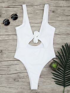 2355bd7f5d8 $11.11 Backless Ribbed Knot One Piece Swimsuit One Piece Swimsuit White,  Backless One Piece Swimsuit