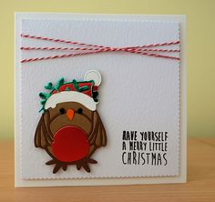 Christmas Card - Tonic Robin Die. To purchase my cards please visit the CraftyCardStudio on Etsy.com. Tonic Christmas Cards, Cute Christmas Cards, Merry Little Christmas, All Things Christmas, Handmade Christmas, Christmas Ornaments, Tonic Cards, Studio Cards, Animal Cards