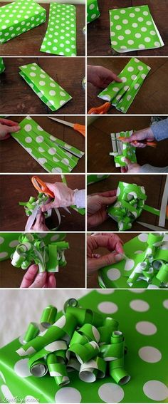 10 DIY Gift Projects Top 10 DIY Gift Projects-wrapping paper bow awesome way to use the random/awkwardly shaped leftover piece of paper!Top 10 DIY Gift Projects-wrapping paper bow awesome way to use the random/awkwardly shaped leftover piece of paper! Craft Gifts, Diy Gifts, Holiday Crafts, Holiday Fun, Holiday Photos, Holiday Ideas, Wrapping Paper Bows, Wrapping Ideas, Wrapping Presents