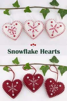 Handmade red and white felt snowflake Christmas ornaments.These Scandi style heart ornaments are made from  felt, embroidered with snowflakes and finished with tiny buttons.They come in a set of three, and each heart has a different snowflake design. They each have a loop for hanging as an ornament or attaching to a Christmas gift. Each heart is 7cm/2.75 inches high. #feltchristmasornaments #scandichristmas #snowflakeornaments Scandinavian Christmas Ornaments, White House Christmas Ornament, Felt Christmas Decorations, Christmas Owls, House Ornaments, Felt Christmas Ornaments, Snowflake Ornaments, Snowflakes, Xmas