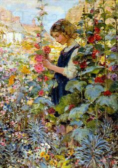 ⊰ Posing with Posies ⊱ paintings of women and flowers - vintage image from DandDDigitalDelights on etsy