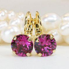 Fuchsia Pink Crystal Earrings Swarovski Fuchsia Bright Pink Gold Single stone Drop Earring Fuchsia Wedding bridesmaids Gift,Gold,Fuchsia,GE2