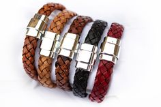Flat Leather bracelet with silver tone magnetic clasp