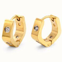 Unique Mens Hoop Earrings Stainless Steel Gold 4mm Rnbjewellery