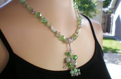 Green crystal & jade beaded tassle necklace by OutsiderArtJewelry