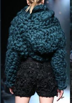 Johan Ku amazing knitted fashion couture in teal blue en trend autumn 2014 edgy textural chunky knit style jumper